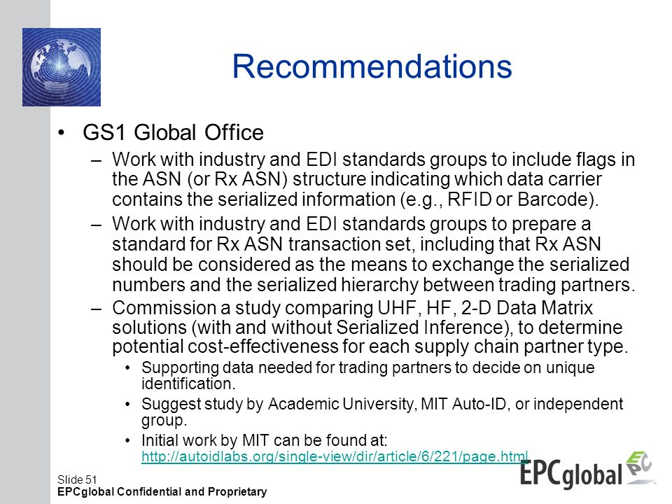 Recommendations GS1 Global Office