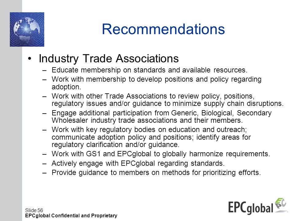 Recommendations Industry Trade Associations