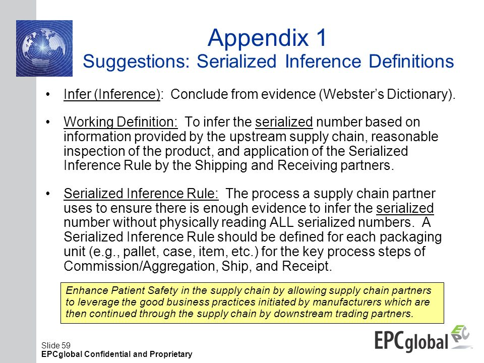 Appendix 1 Suggestions: Serialized Inference Definitions