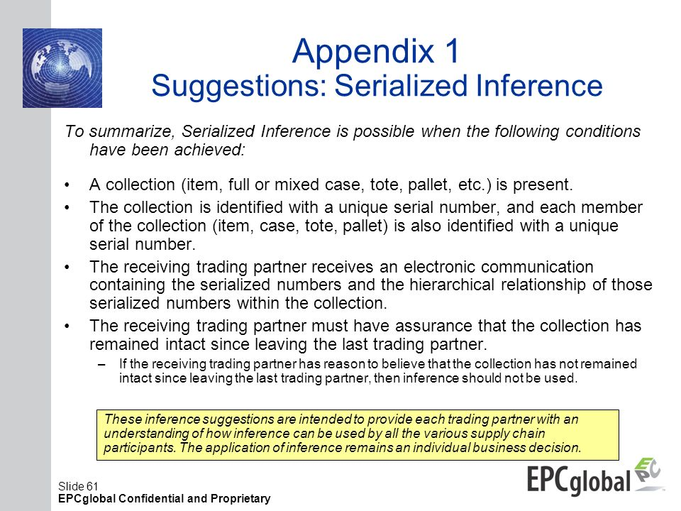Appendix 1 Suggestions: Serialized Inference