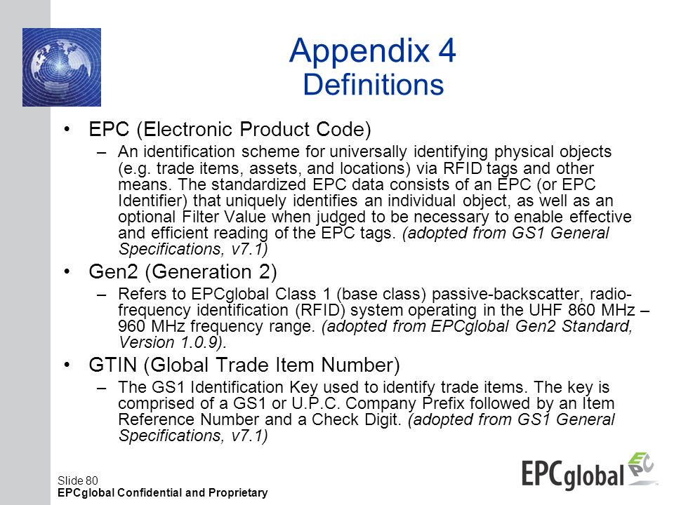Appendix 4 Definitions EPC (Electronic Product Code)