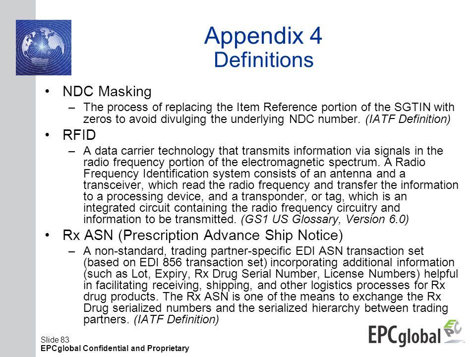 Appendix 4 Definitions NDC Masking RFID