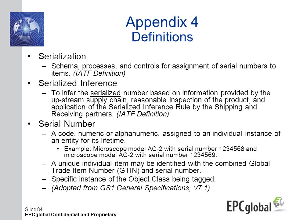 Appendix 4 Definitions Serialization Serialized Inference