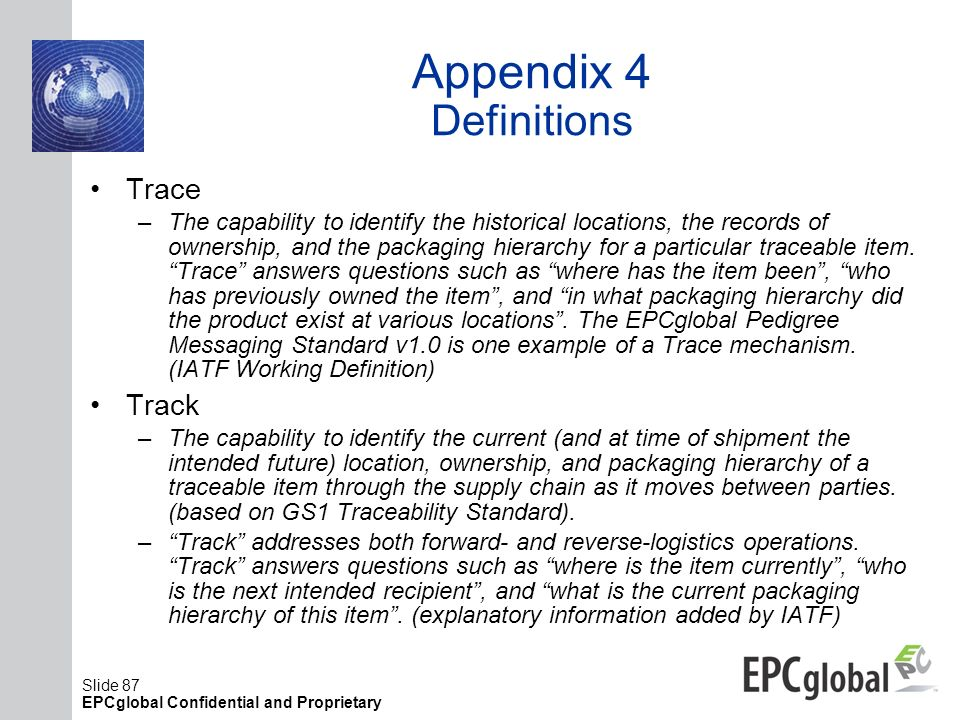 Appendix 4 Definitions Trace Track
