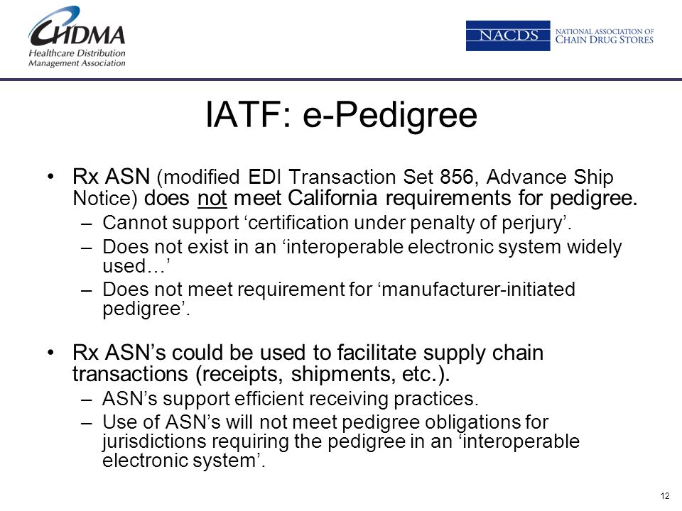 IATF: e-Pedigree Rx ASN (modified EDI Transaction Set 856, Advance Ship Notice) does not meet California requirements for pedigree.