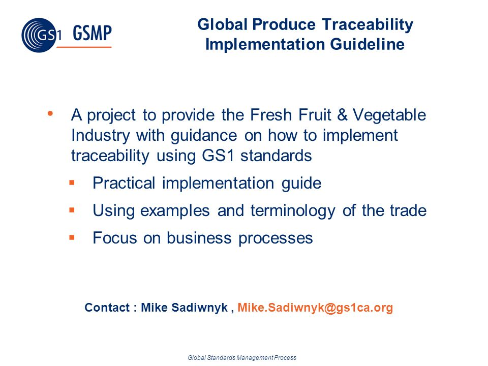 Global Produce Traceability Implementation Guideline