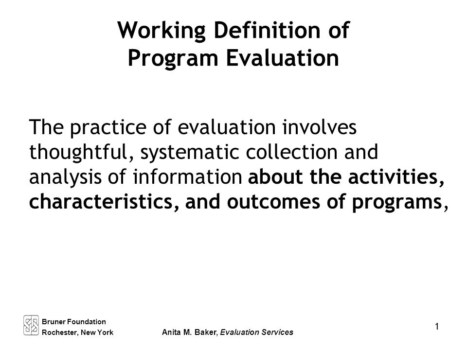 Working Definition Of Program Evaluation - Ppt Download