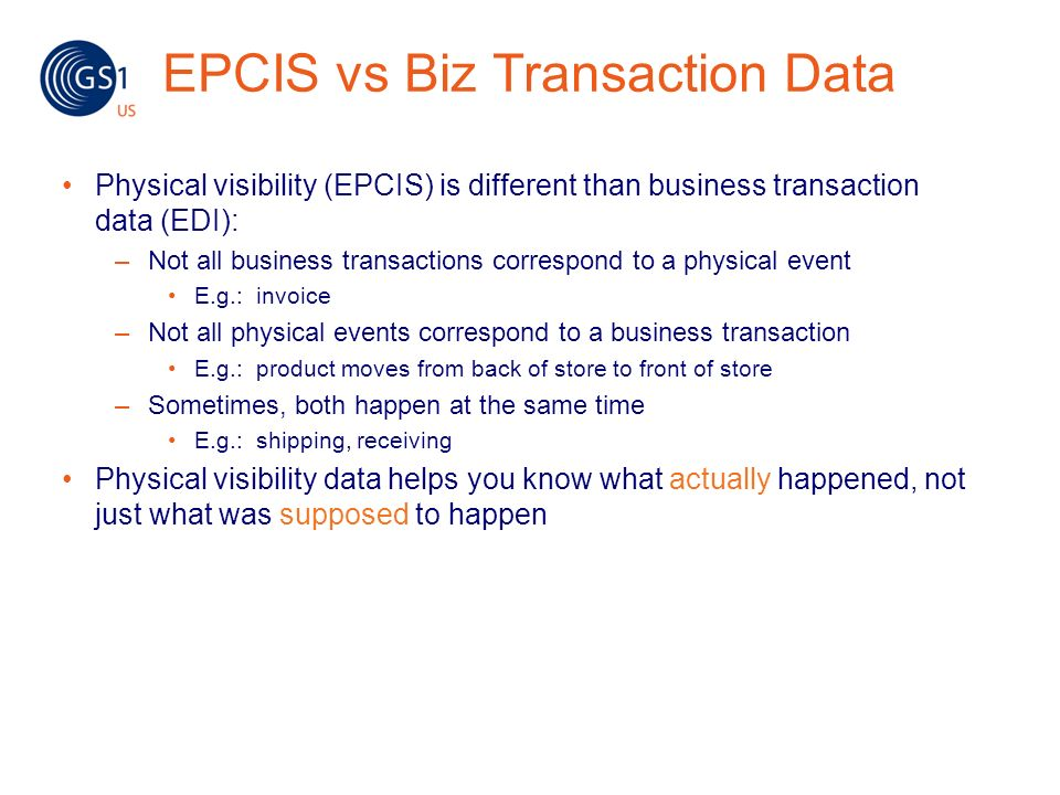 EPCIS vs Biz Transaction Data