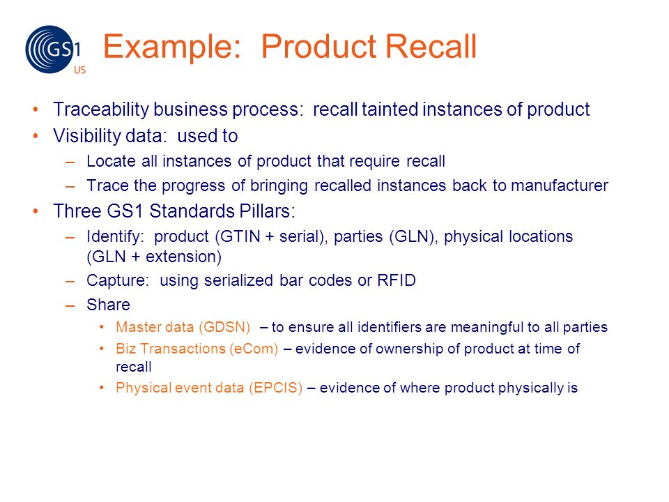 Example: Product Recall