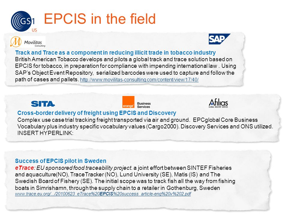 EPCIS in the field Track and Trace as a component in reducing illicit trade in tobacco industry.