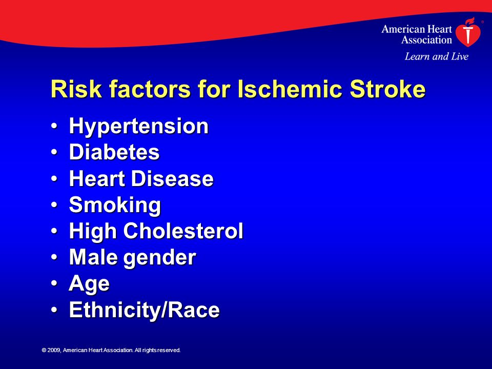 Risk factors for Ischemic Stroke