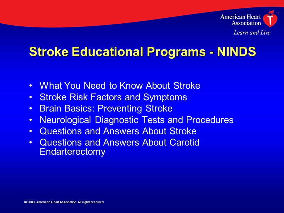 Stroke Educational Programs - NINDS
