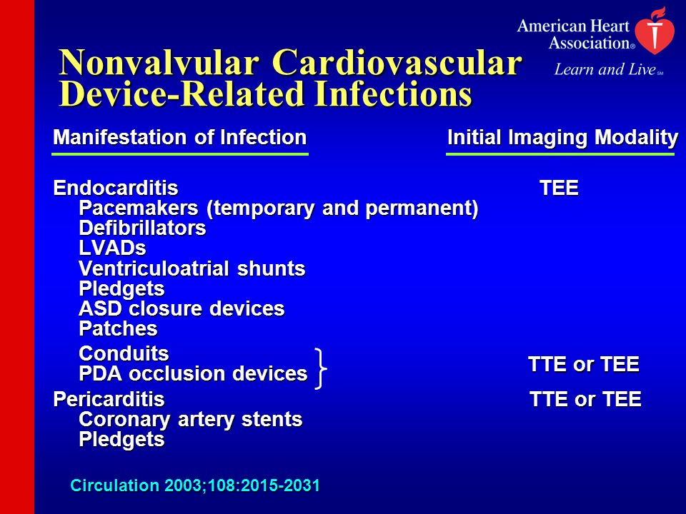 Nonvalvular Cardiovascular Device-Related Infections