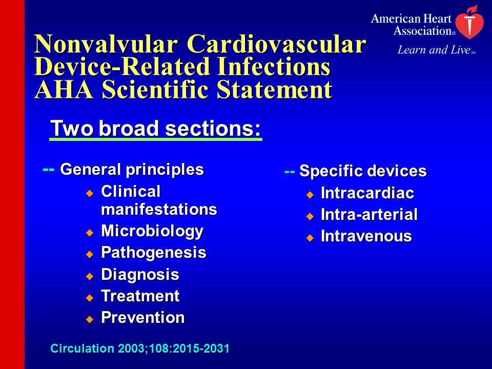 Nonvalvular Cardiovascular Device-Related Infections AHA Scientific Statement