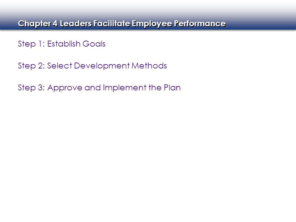 Step 1: Establish Goals Step 2: Select Development Methods Step 3: Approve and Implement the Plan