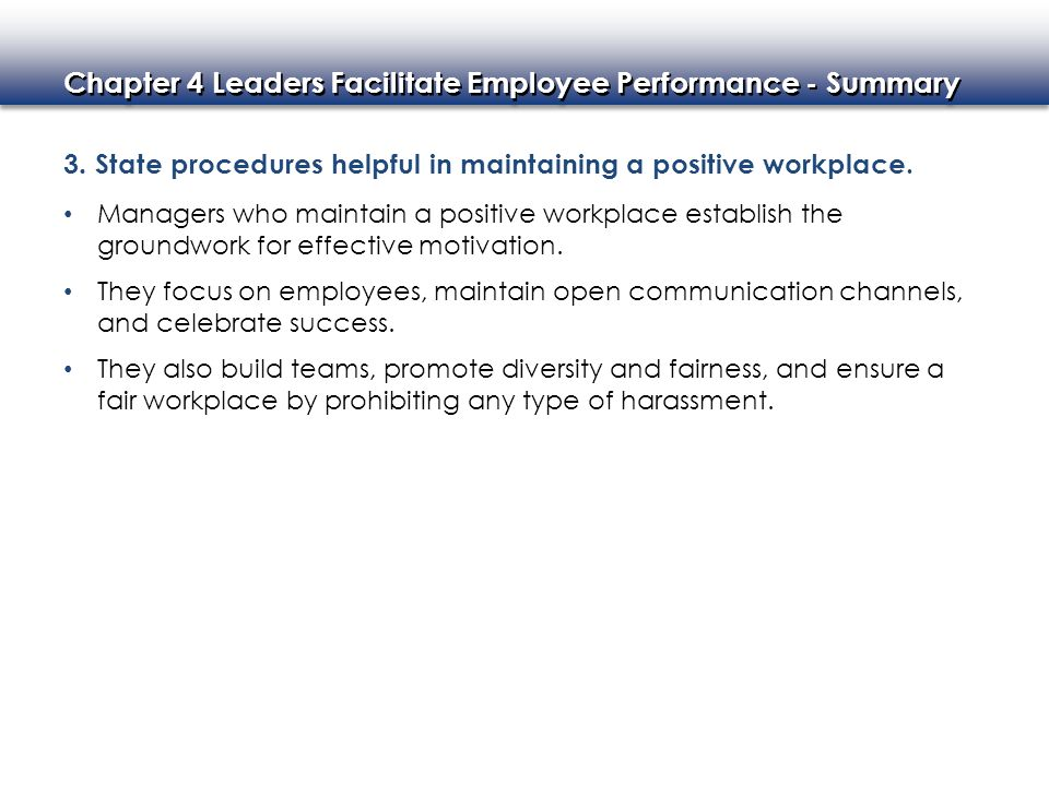 3. State procedures helpful in maintaining a positive workplace.