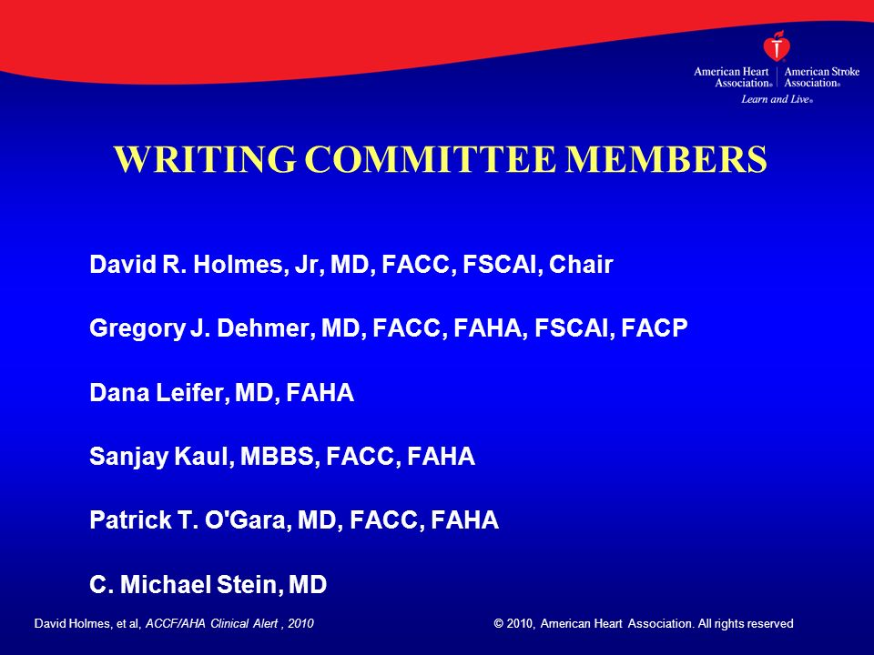WRITING COMMITTEE MEMBERS