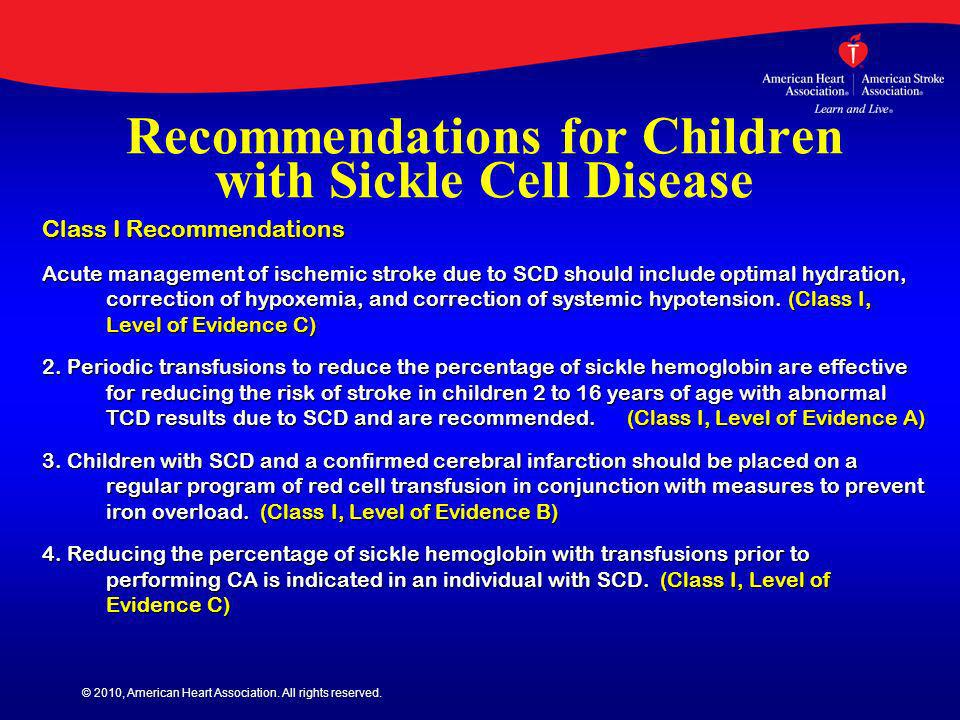 Recommendations for Children with Sickle Cell Disease