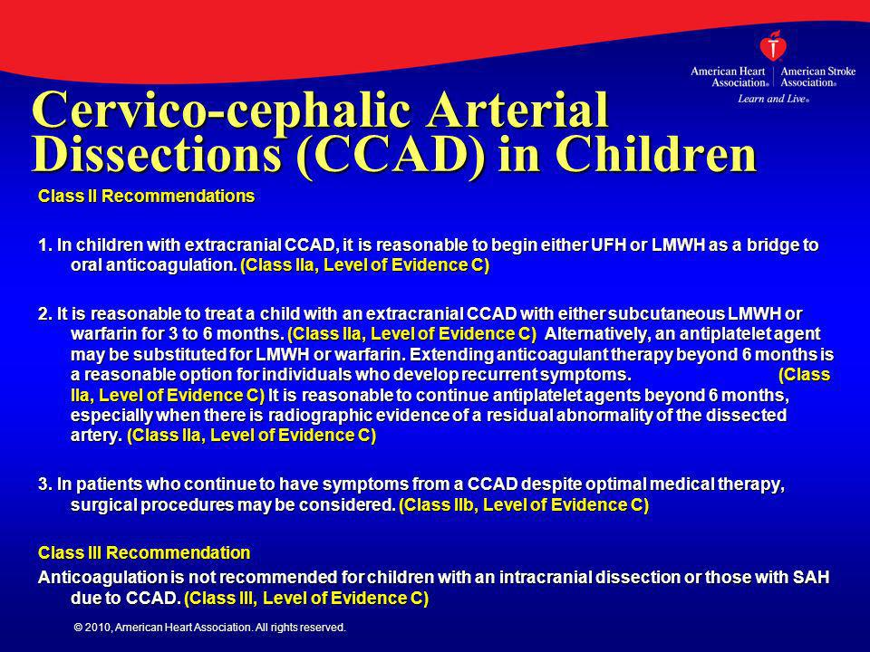 Cervico-cephalic Arterial Dissections (CCAD) in Children