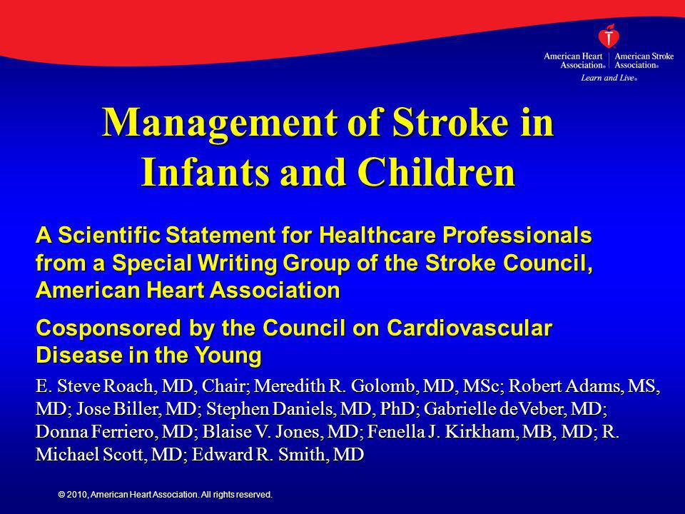 Management of Stroke in Infants and Children