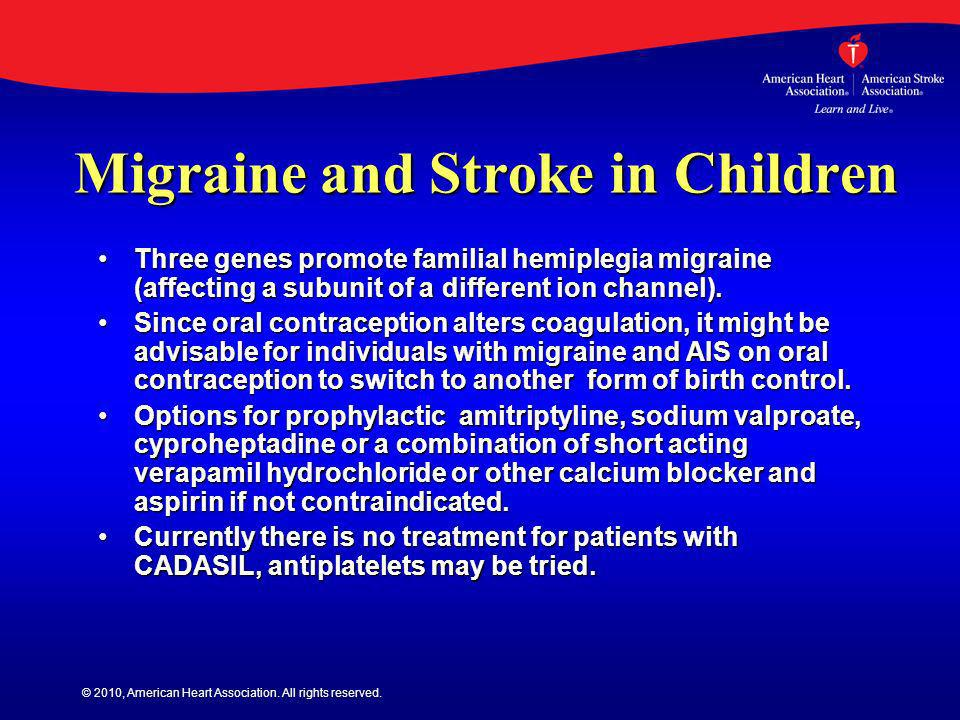 Migraine and Stroke in Children