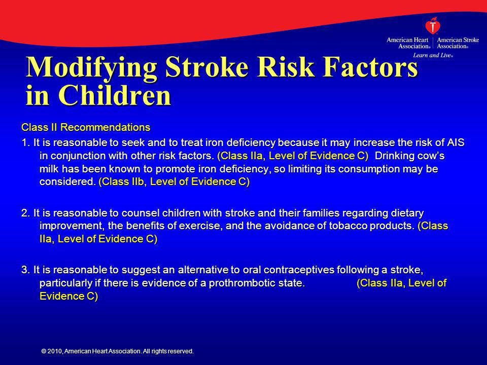 Modifying Stroke Risk Factors in Children