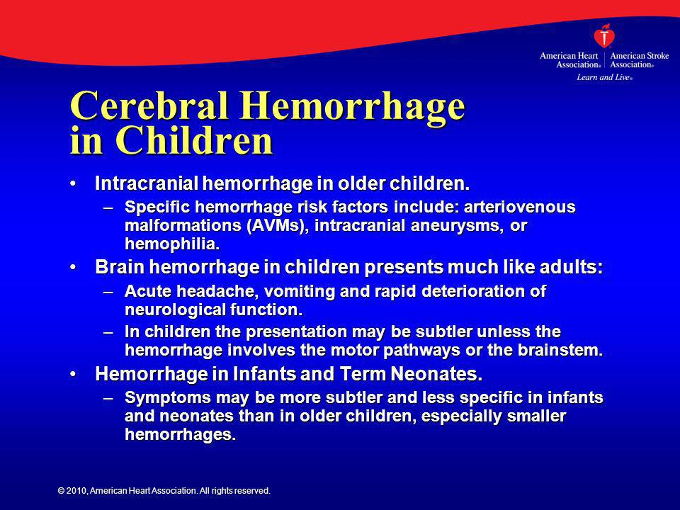 Cerebral Hemorrhage in Children