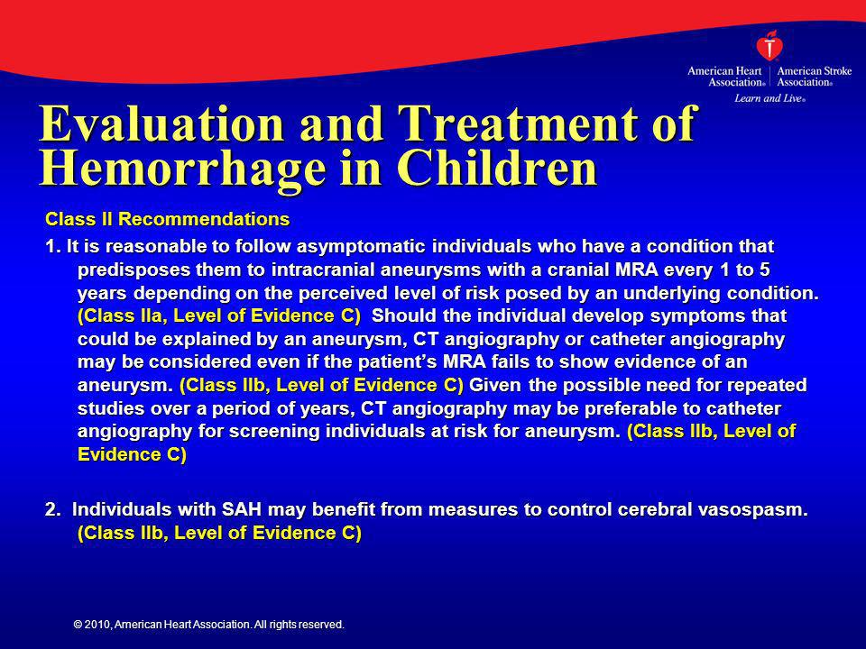 Evaluation and Treatment of Hemorrhage in Children