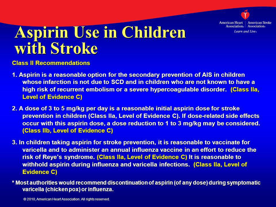 Aspirin Use in Children with Stroke