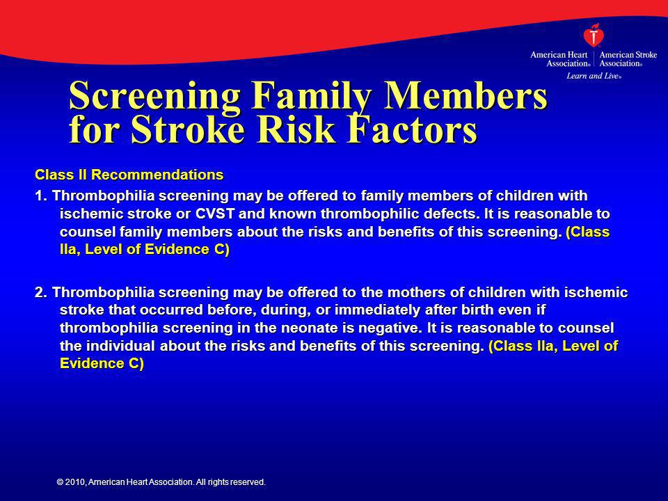 Screening Family Members for Stroke Risk Factors