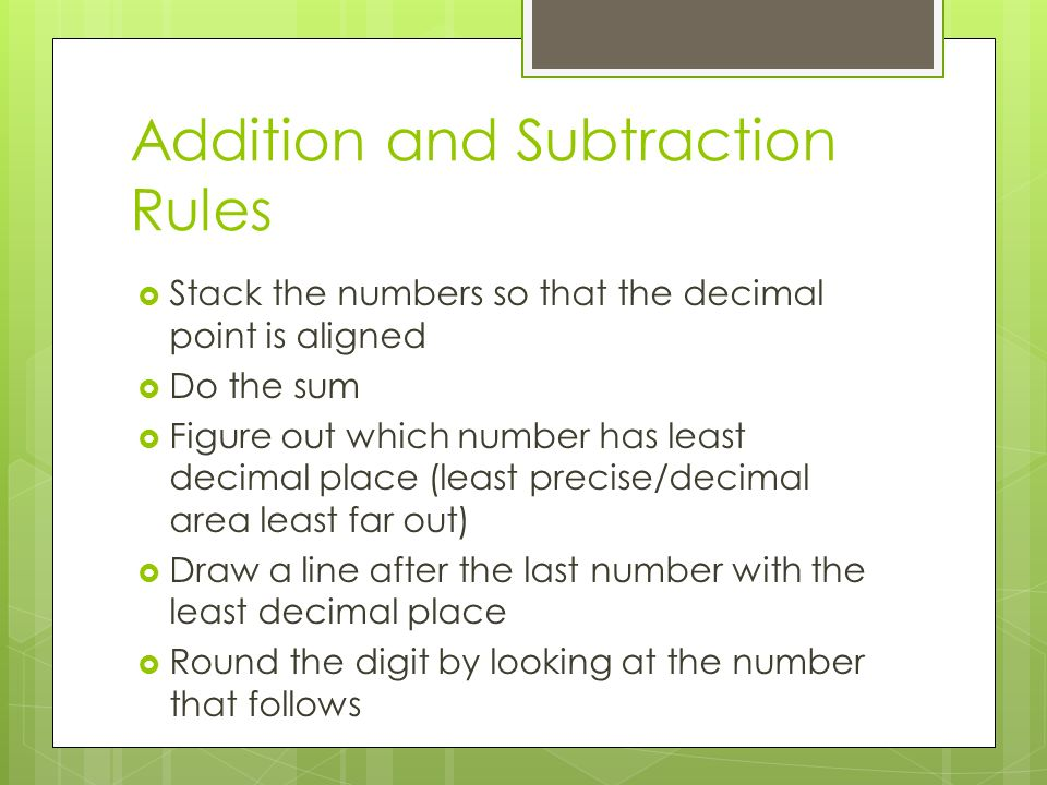 Addition and Subtraction Rules