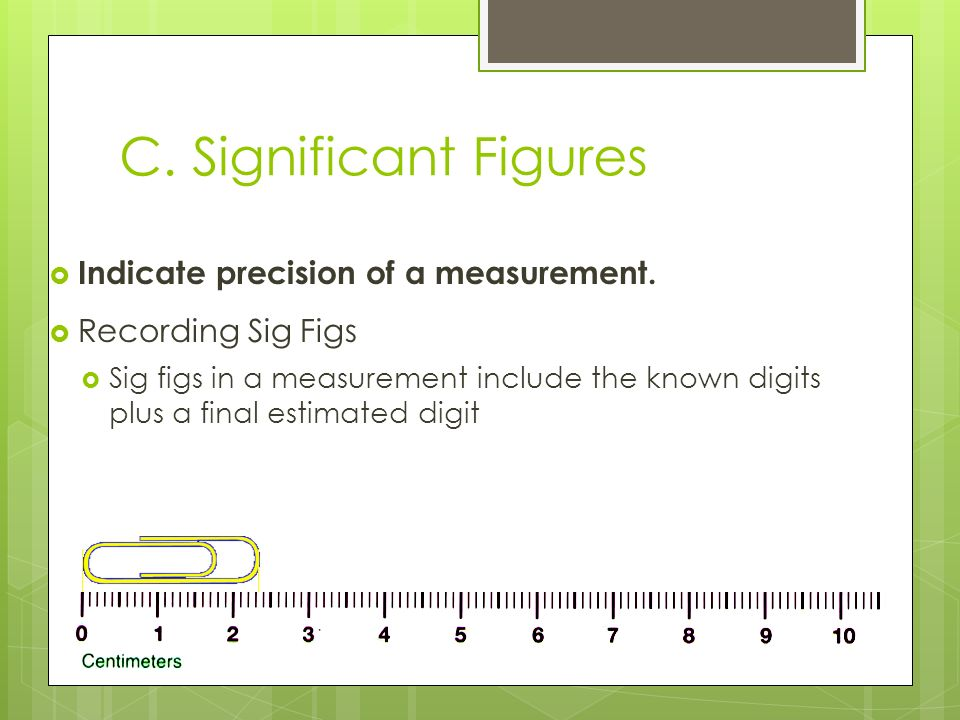 C. Significant Figures Indicate precision of a measurement.