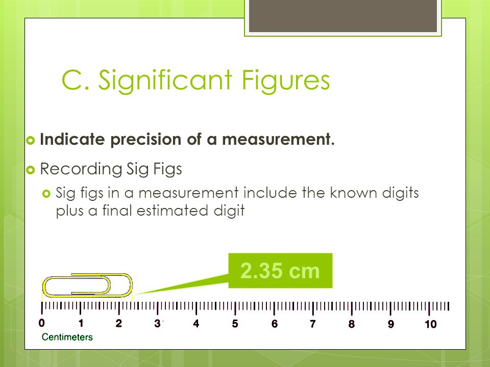 C. Significant Figures 2.35 cm Indicate precision of a measurement.