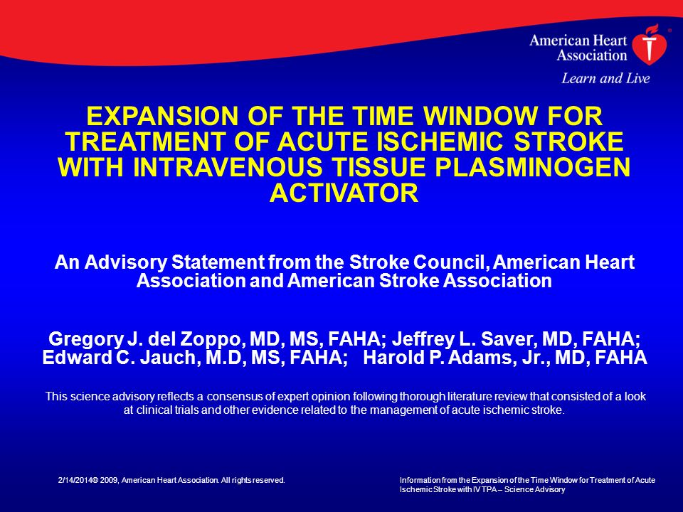 EXPANSION OF THE TIME WINDOW FOR TREATMENT OF ACUTE ISCHEMIC STROKE WITH INTRAVENOUS TISSUE PLASMINOGEN ACTIVATOR
