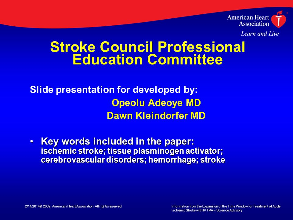 Stroke Council Professional Education Committee