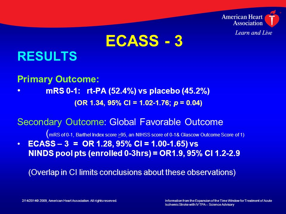 ECASS - 3 RESULTS Primary Outcome: