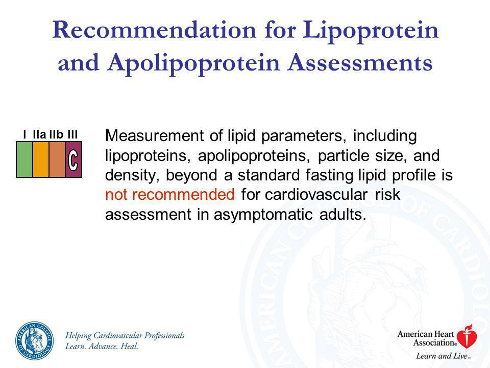 Recommendation for Lipoprotein and Apolipoprotein Assessments
