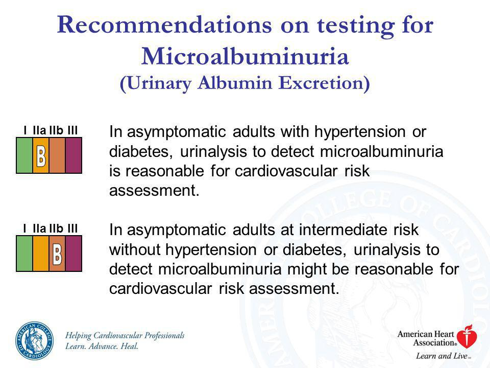 Recommendations on testing for Microalbuminuria (Urinary Albumin Excretion)