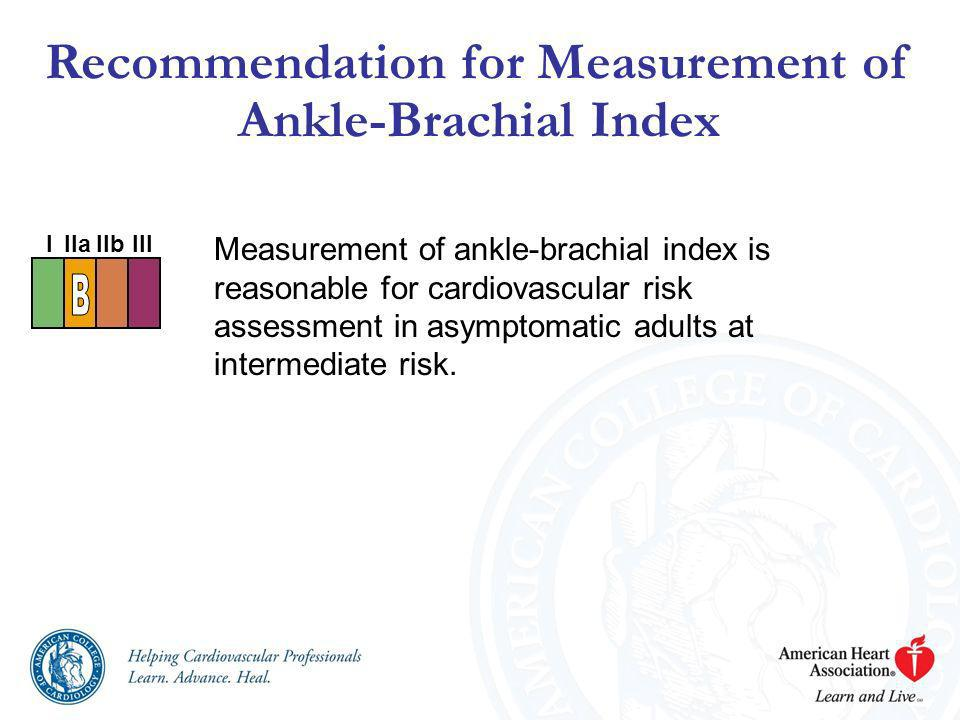 Recommendation for Measurement of Ankle-Brachial Index