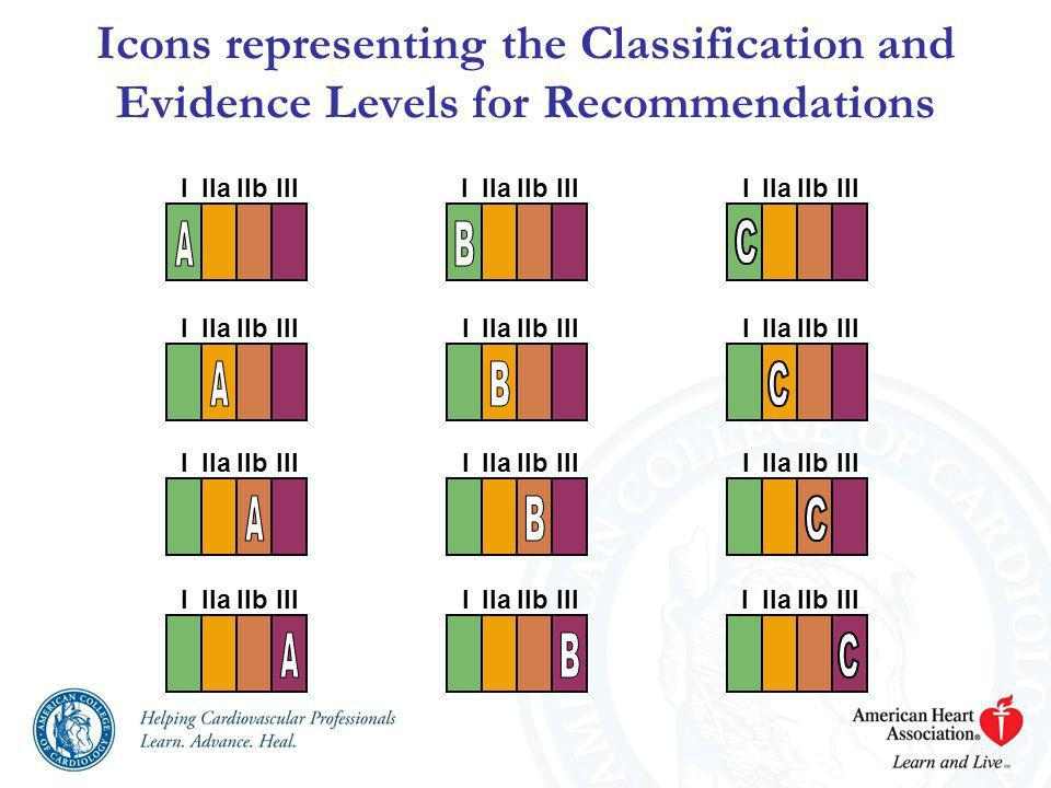 Icons representing the Classification and Evidence Levels for Recommendations