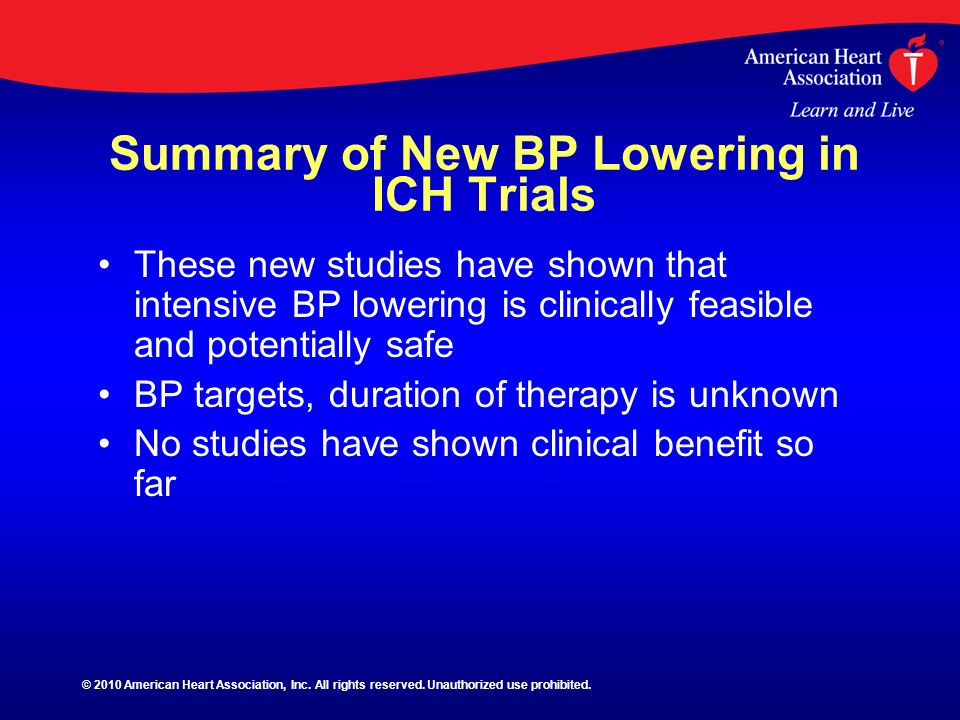 Summary of New BP Lowering in ICH Trials