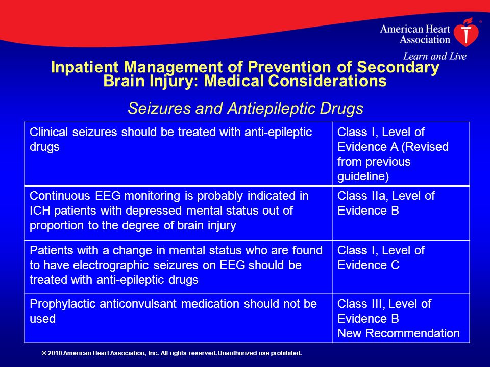 Inpatient Management of Prevention of Secondary Brain Injury: Medical Considerations Seizures and Antiepileptic Drugs