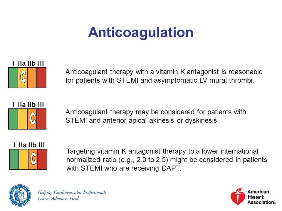 Anticoagulation I IIa IIb III