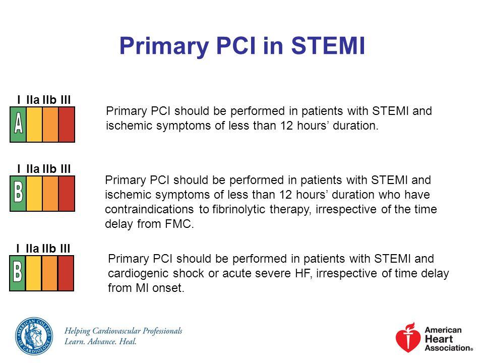 Primary PCI in STEMI A B B I IIa IIb III