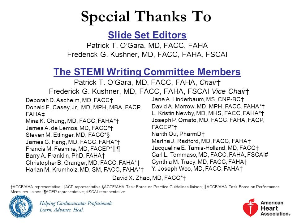The STEMI Writing Committee Members