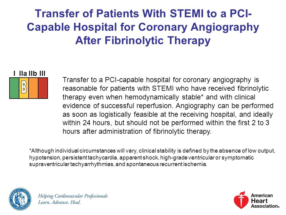 Transfer of Patients With STEMI to a PCI-Capable Hospital for Coronary Angiography After Fibrinolytic Therapy