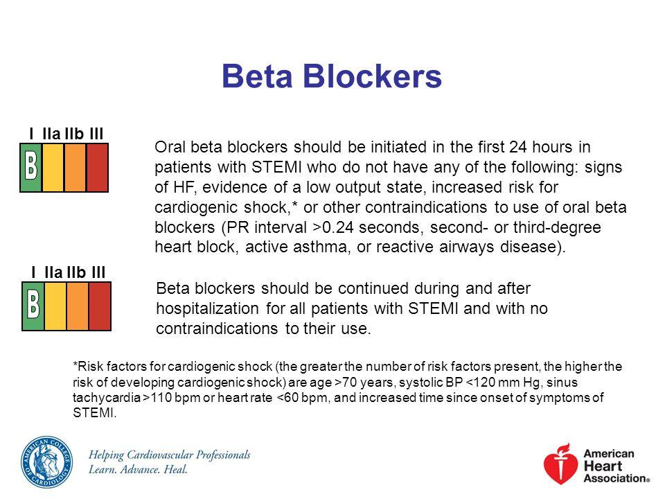 Beta Blockers B B I IIa IIb III