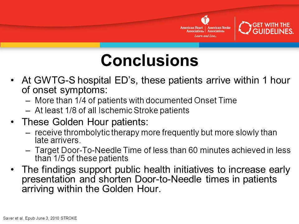 Conclusions At GWTG-S hospital ED's, these patients arrive within 1 hour of onset symptoms: More than 1/4 of patients with documented Onset Time.