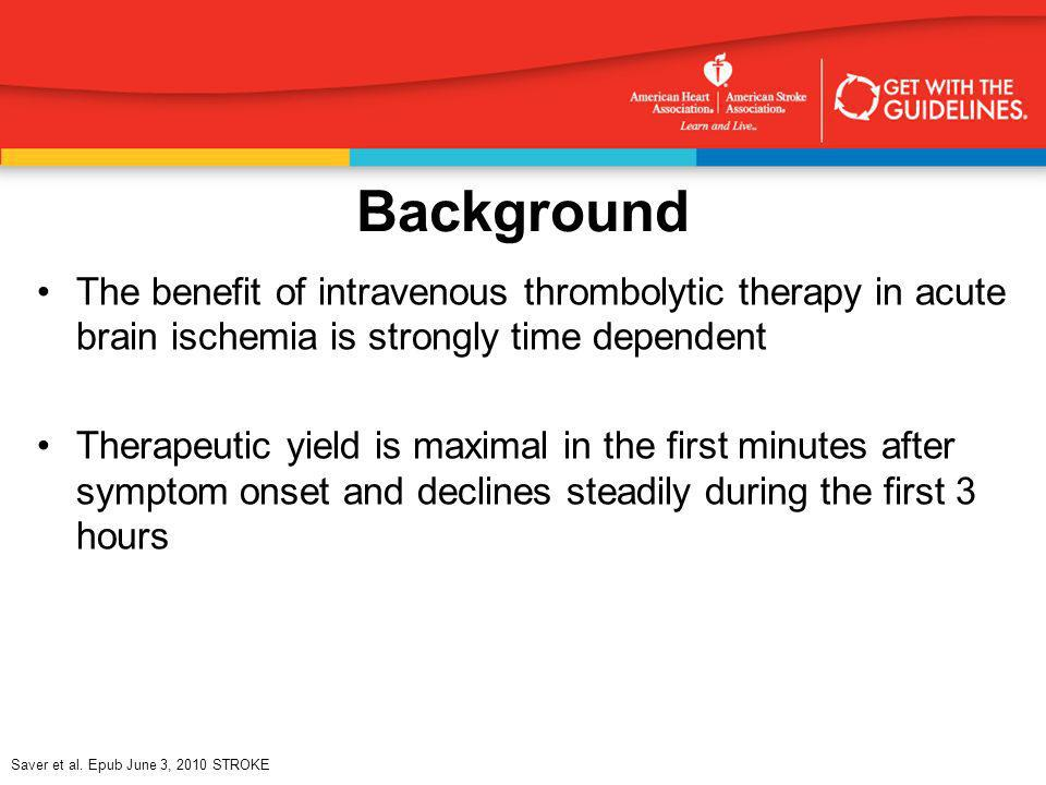 BackgroundThe benefit of intravenous thrombolytic therapy in acute brain ischemia is strongly time dependent.