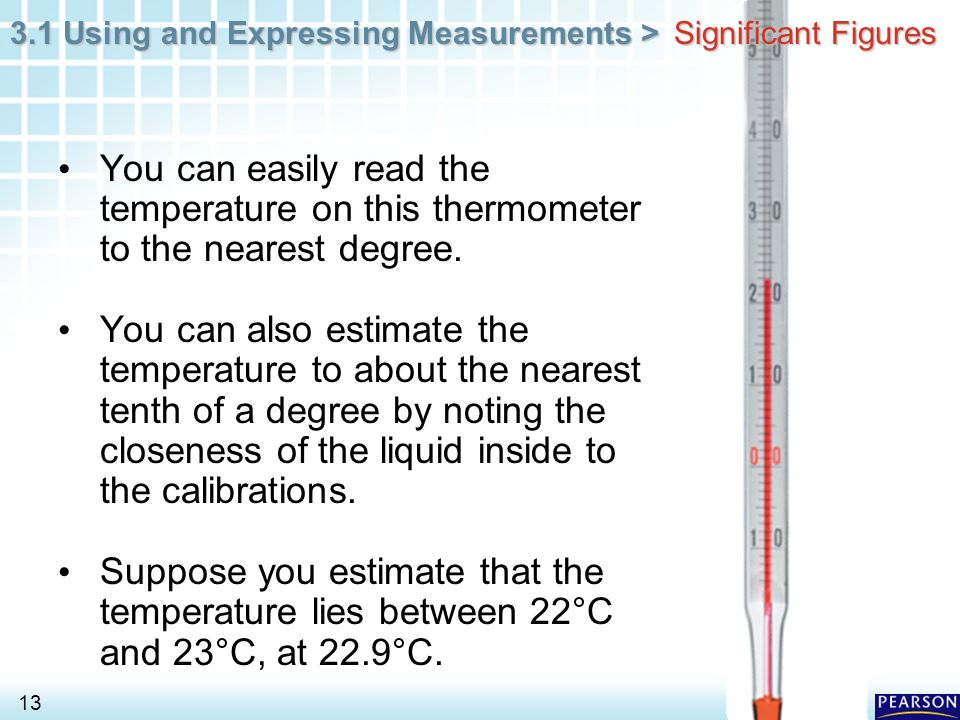 Significant Figures You can easily read the temperature on this thermometer to the nearest degree.